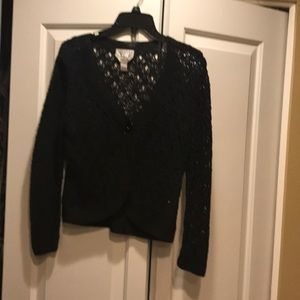 Black hand knit decorative sweater